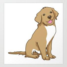 Golden Retriever Puppy Hound Gift Art Print