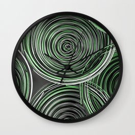 Black, white and green spiraled coils Wall Clock