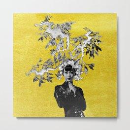 Dragon-fish Lady #1 - on gold Metal Print