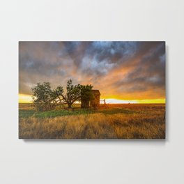 Windswept - Tree Sway in Wind Alongside Old Barn During Fiery Sunset in Oklahoma Metal Print