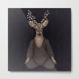 meditating deer night Metal Print