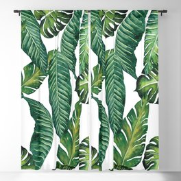 Jungle Leaves, Banana, Monstera II #society6 Blackout Curtain
