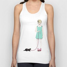 The girl with the ferret Unisex Tank Top