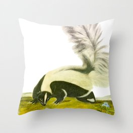 Large-tailed Skunk Hand Drawn Illustration by John James Audubon Throw Pillow