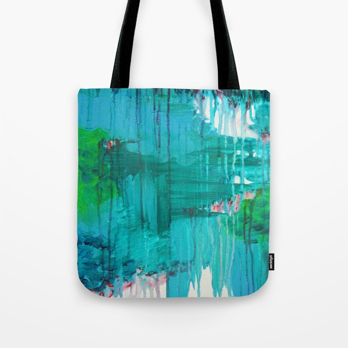 BLUE MONSOON - Stunning Rain Storm Dark Teal Clouds Navy Royal Blue Kelly Green Crimson Red Purple Tote Bag
