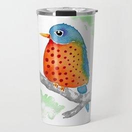 Polka Dot Bluebird Travel Mug