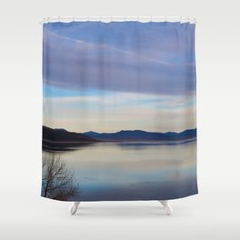 Blue Lake Reflection Shower Curtain