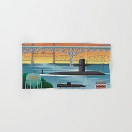 Groton, CT - Retro Submarine Travel Poster Hand & Bath Towel
