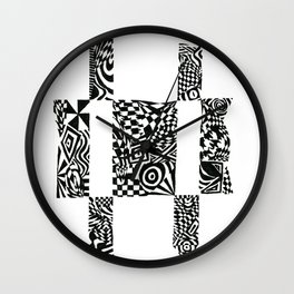 Checkerboard Detail, Black/White Abstract(ink drawing) Wall Clock