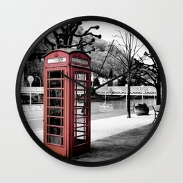 old English phone booth in colorkey Wall Clock