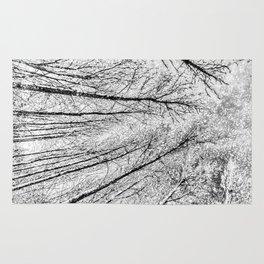 Monochrome Snow Trees Rug