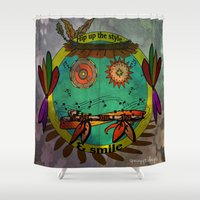 hippie Shower Curtains featuring Hippie Smilie by Wired Circuit
