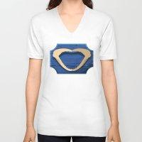 shark V-neck T-shirts featuring Shark! by DWatson