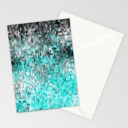 Aqua Gray Pixels Stationery Cards