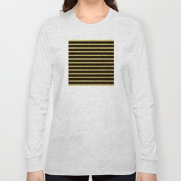 Art Deco Glitter-Gold Horizontal Lines on Black Pattern Long Sleeve T-shirt
