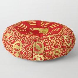 Luxury Oriental Red on Black Pair of Koi Fish in Bagua Floor Pillow