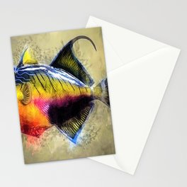 Great Barrier Reef Trigger Fish Marine Portrait Stationery Cards