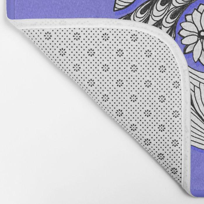 Zentangle Design - Black, White and Purple Illustration Bath Mat