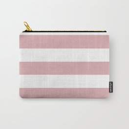 Pale chestnut - solid color - white stripes pattern Carry-All Pouch