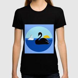 Black and White Swans on Blue Lake T-shirt