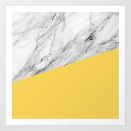 Marble and Primrose Yellow Color Art Print
