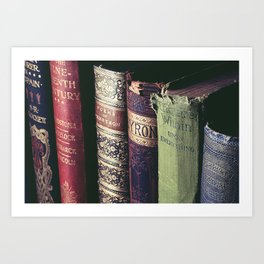 Vintage low light photography of books Art Print