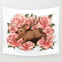 jackalope Wall Tapestries featuring Jackalope and Roses by KteaCrumpet