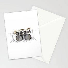 Black Drum Kit Stationery Cards