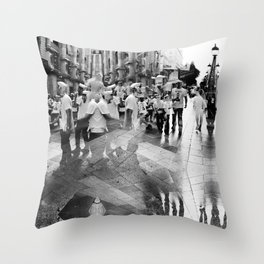 Summer space, smelting selves, simmer shimmers. 17, grayscale version Throw Pillow