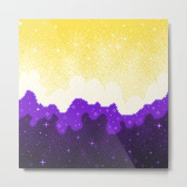 Nonbinary Pride Flag Galaxy Metal Print