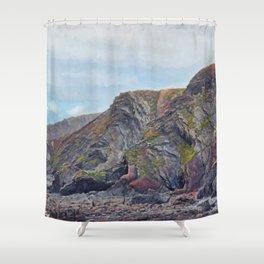 Hartland Quay Cliffs Shower Curtain