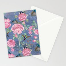 Vintage Watercolor hummingbird and English Roses on blue Background Stationery Cards