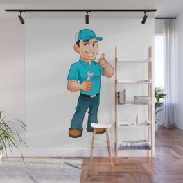 Handyman worker with key in the hand Wall Mural