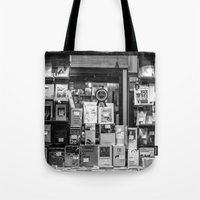 italian Tote Bags featuring Italian Bookshop by Zeno Photography