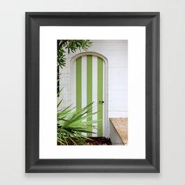 Kiwi Stripe Cabana Door Framed Art Print