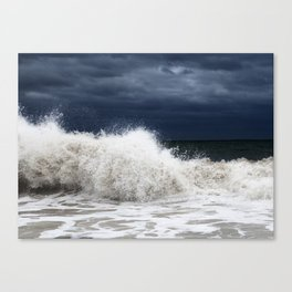 Double Wave Crash Canvas Print