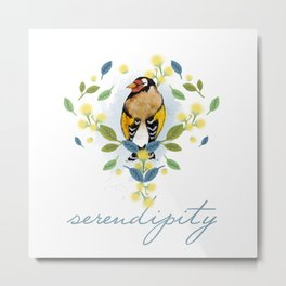 European Goldfinch - Bird Watercolor Metal Print