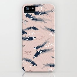 Orca in Motion / blush ocean pattern iPhone Case