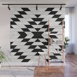Urban Tribal Pattern No.15 - Aztec - White Concrete Wall Mural