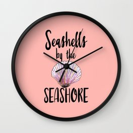 Watercolor Seashells by the Seashore Typography Wall Clock