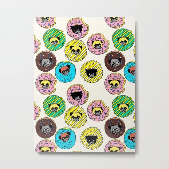 Pug Donuts Metal Print