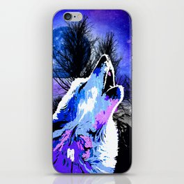 NEBULA WOLF MOON TREE MOUNTAIN SPARKLE iPhone Skin
