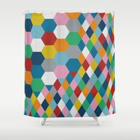 honeycomb Shower Curtains featuring Honeycomb by Project M