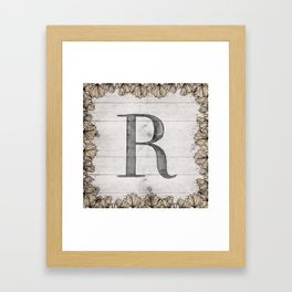Neutral Monogram R Framed Art Print