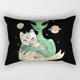 aliens and cats are human haters Rectangular Pillow