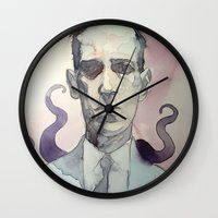 lovecraft Wall Clocks featuring LOVECRAFT by Germania Marquez