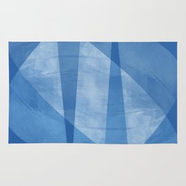 Blue & White Geometric Mid Century Modern Abstract Rug
