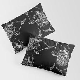 TAURUS - inverted bull - zodiac doodle series abstract Art Print Pillow Sham