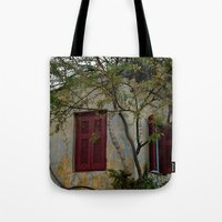 greek Tote Bags featuring Greek Cottage by Upperleft Studios