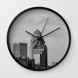 Downtown Louisville Skyline - Black and White Wall Clock